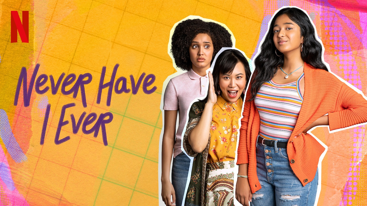 promo shot for Never Have I Ever. Multi-coloured background with the three main characters posing together.