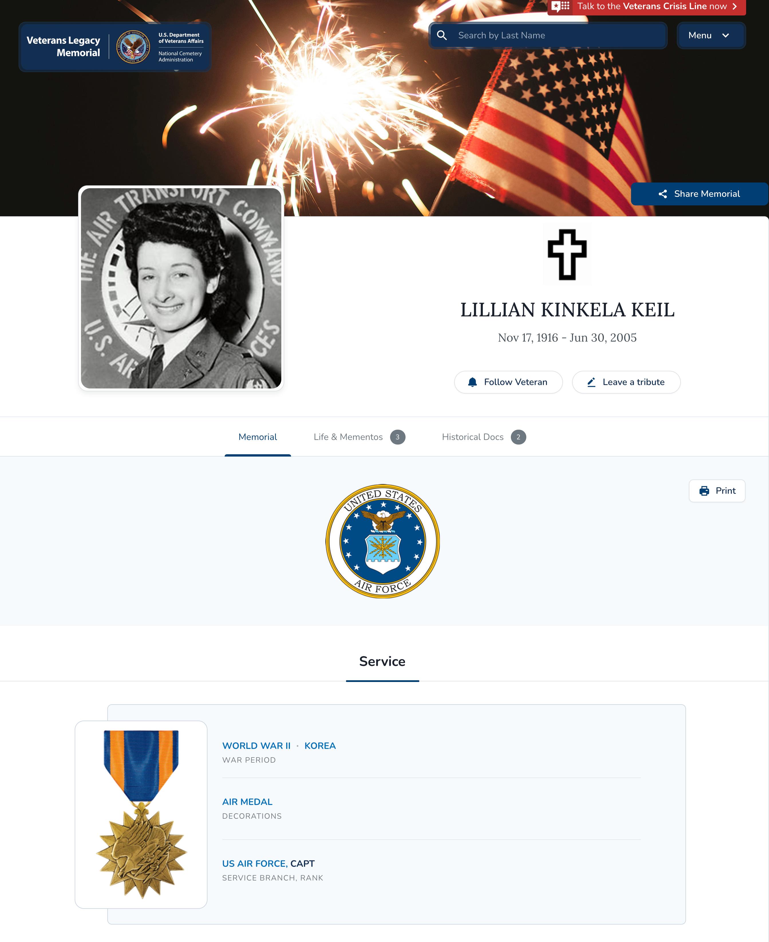 Screenshot of LILLIAN KINKELA KEIL's VLM Memorial Page